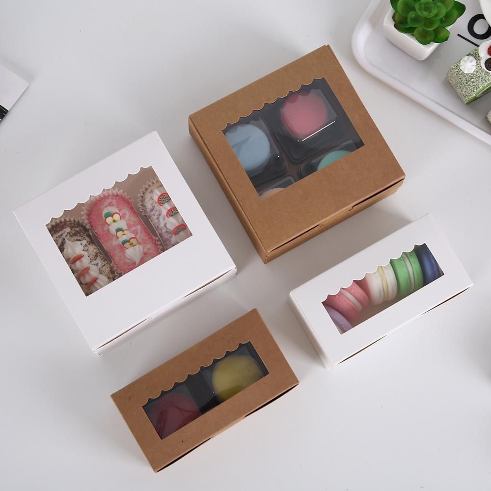 5pcs Brown Kraft Paper Boxy Boxes Confezionamento con finestra Cupcake Boxes Donut / Torta / Muffin / Dessert Decorazione per feste di compleanno