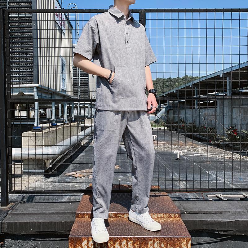 2021 New Sweat Suit Kausal Herren Sets Baumwolle Leinen Komfortable Lose Jogger Trainingsanzug für Männer 2 Stück Set Ropa Para Hombre Casual 2nf8