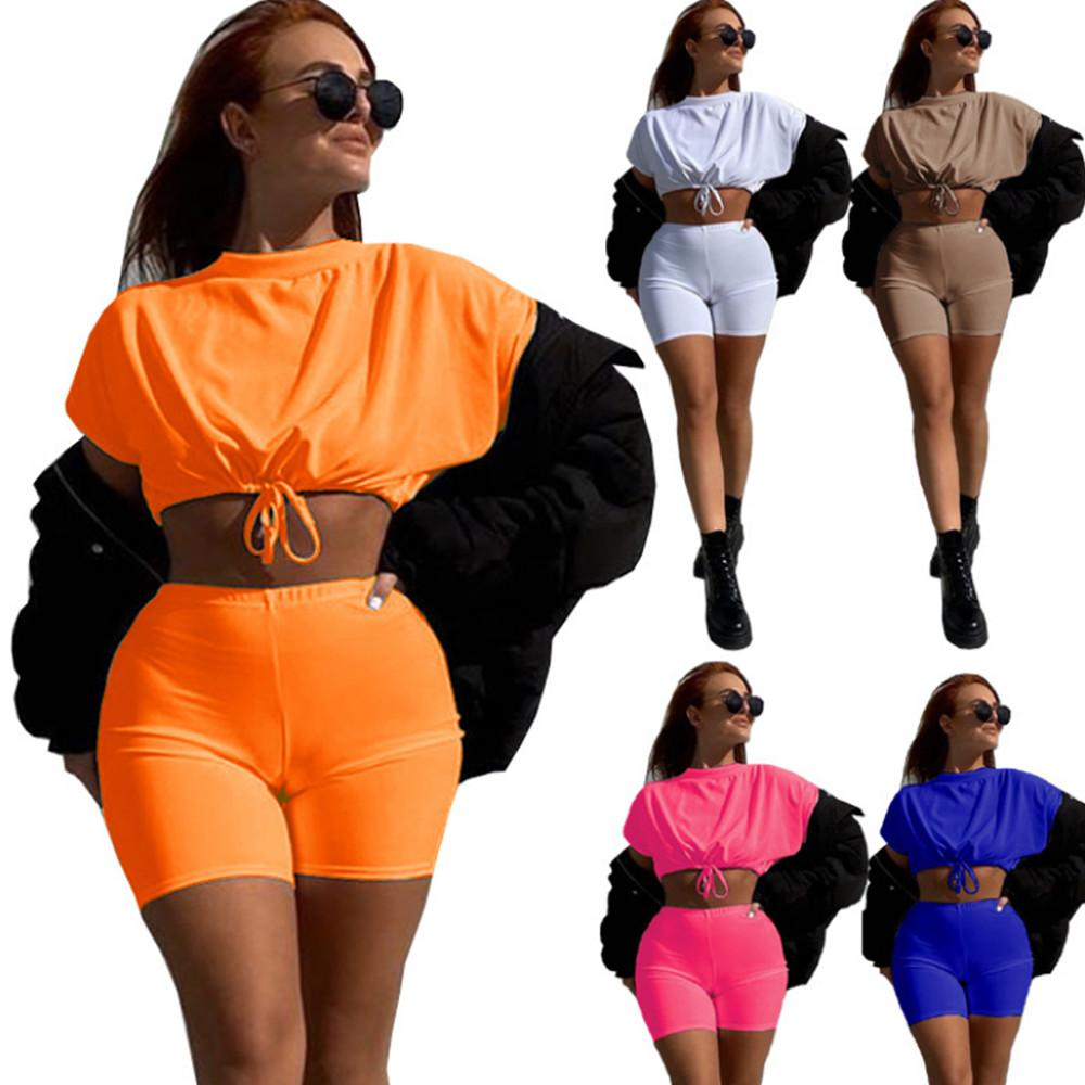 Casual Solid Sportswear Two Piece Sets Women Tracksuits 2021 Drawstring Short Sleeve Crop Top and Elastic Waist Shorts Athleisure Outfits