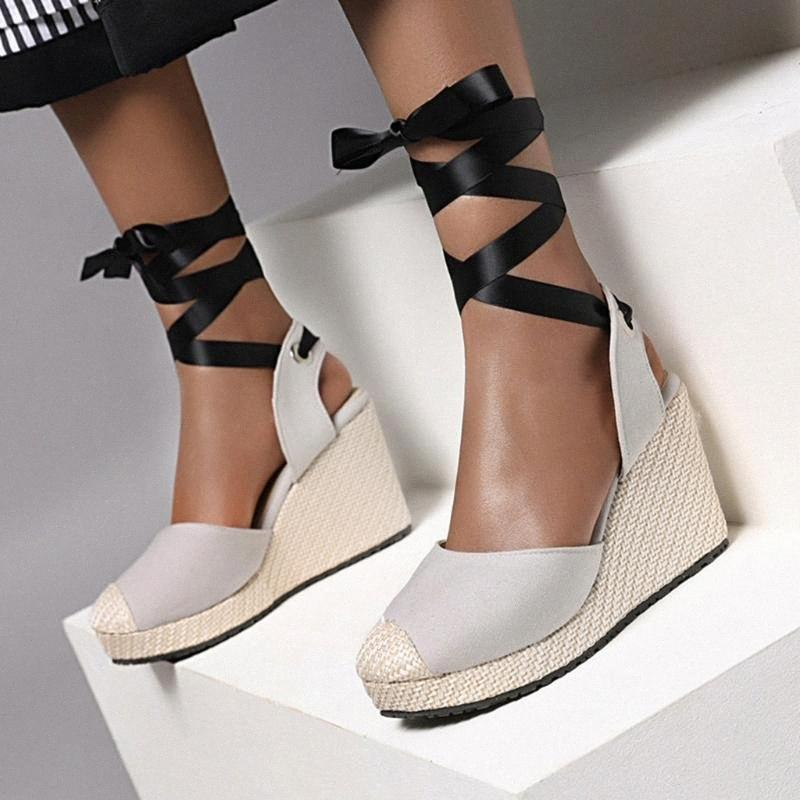 Сандалии платформы Женщины Летние Женщины Богемский Холст Кружевные Сандалии Толстые Сообщенные Этнические Стиль Клин Обувь Бути Дамские # G4 L5OM #