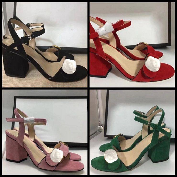 Clássicos Mulheres Sapatos Sandálias Moda Praia Espessura Chinelos Alfabeto Lady Sandals Leather High Heel Shoes Slides Home011 05
