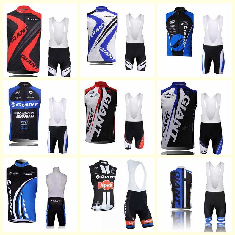 2021 Equipo gigante Ciclismo Sin mangas Jersey Jersey Chaleco Pantalones cortos BIB Sets Ropa transpirable Bicicleta de montaña al aire libre U81704