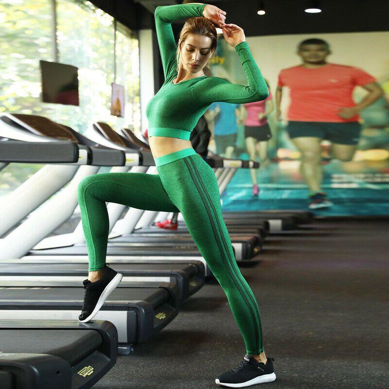 Top Quality 19 Mulheres Novas Calças Esportivas Ms. Hot Yoga Yoga Roupas Terno de mangas compridas Esportes jogging ternos