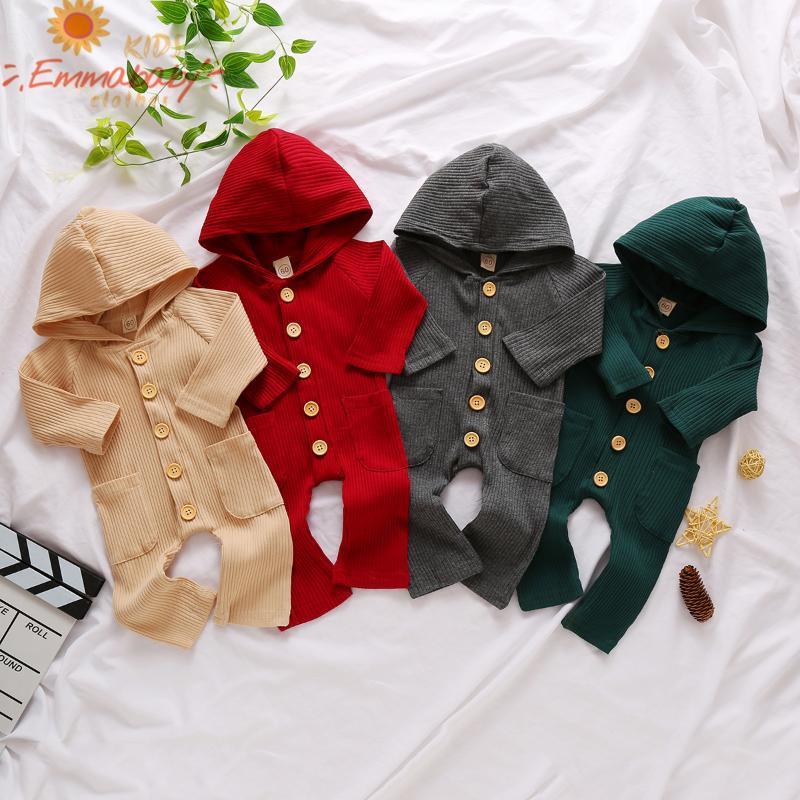 Jumpsuits 4 Farben Mode 2021 Herbst Kleidung Geborenes Baby Langarm Kapuze Roomer Tasche Solide Farbe Jumpsuit Für Jungen Mädchen