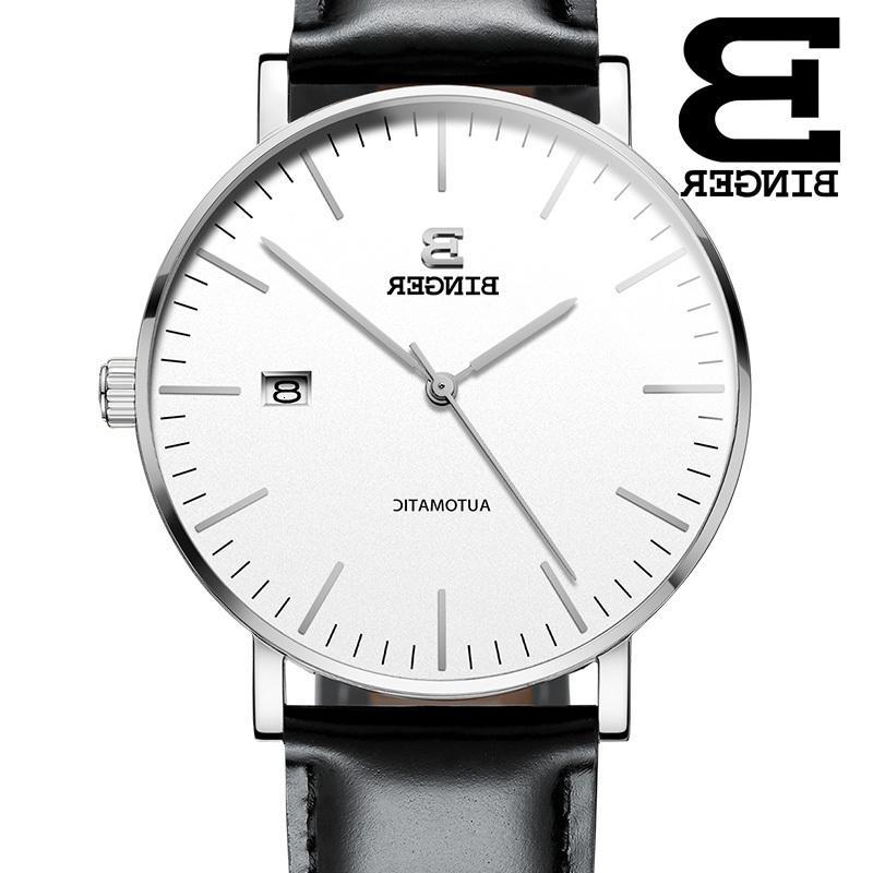 İsviçre Binger Lüks Otomatik Mekanik Erkek Saatleri Hareketli Saatler Deri Reloj Hombre