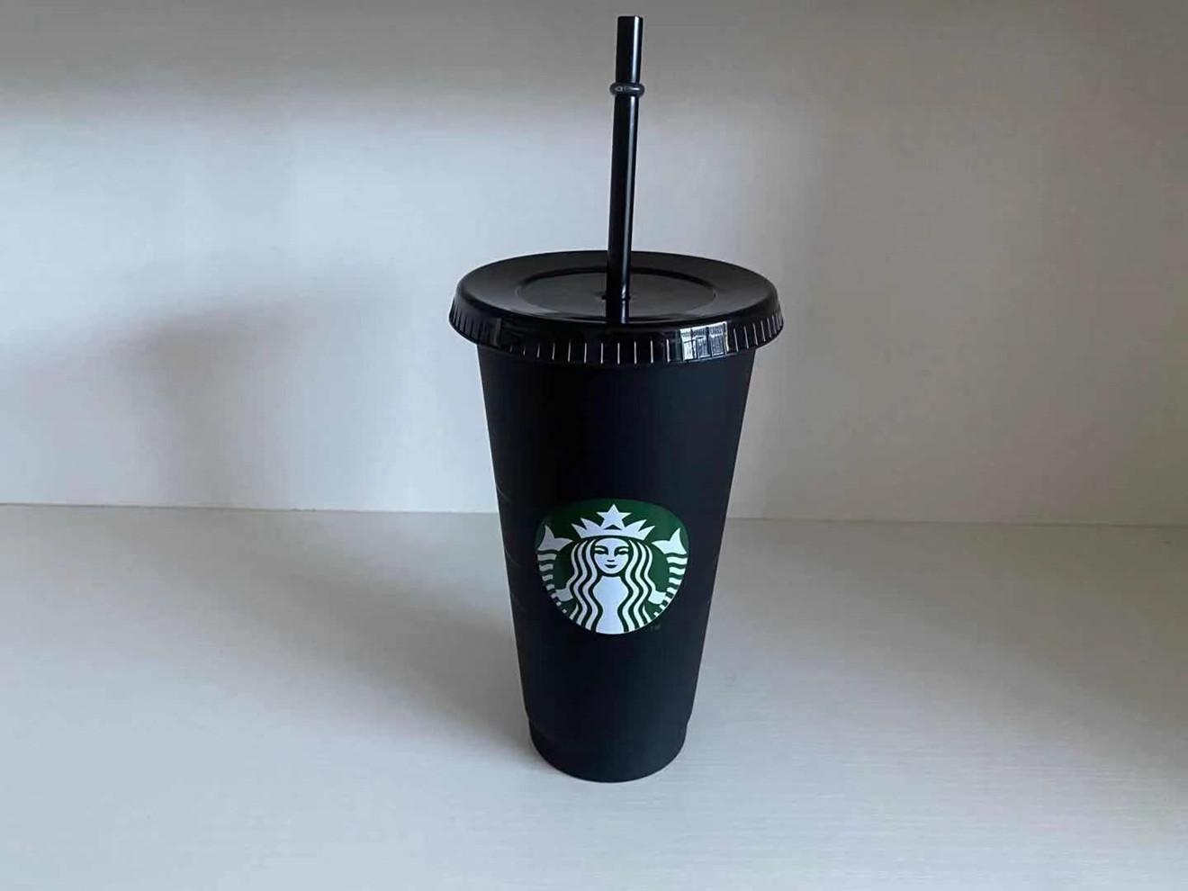 Starbucks 24 Oz Kunststoff Getränke Saft Tasse und Stroh Magie Kaffeetasse Custom Starbucks Plastic Becher, Sie können das Logo 5 PCS 66 KNMD anpassen