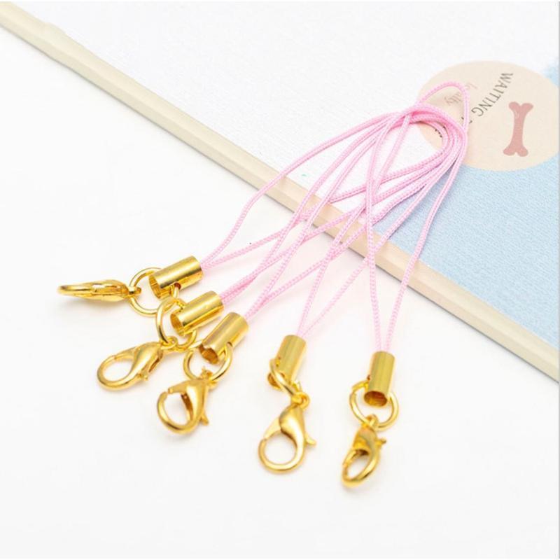 50 unids / lote mulitcolor oro cierre de langosta (12 mm) correa de correa de cordón (5 cm) Correas móviles Charm Nylon Llavero Cadena DIY JLLLRPK