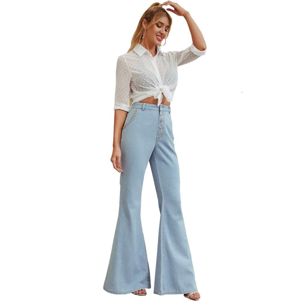 Artı Fabrika Satış Boyutu Streetwear Flared Pantolon Bahar Sonbahar Pamuk Yüksek Bel Flare Kot Kadın UX06