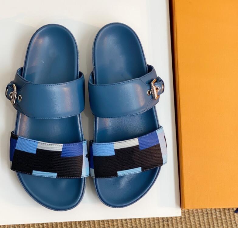 Kadın Mavi Terlik Koyun Deri Deri Kenar Klasik Ekose Baskı Sandalet Moda Konforlu Düz Tercü