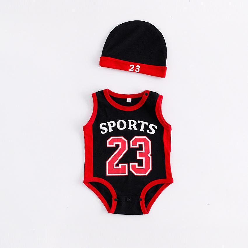 طفل رضيع الصبي الملابس رومبير بوي فتاة كرة السلة 23 طباعة قصيرة الأكمام رومبير مع قبعة الطفل تسلق 100٪ القطن الصيف القماش