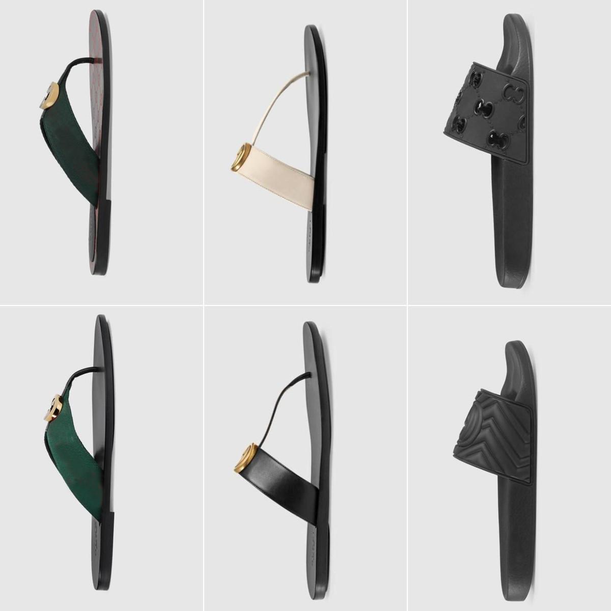 2019 Sandales Designer Sandales Hommes Pantoufles Engrenages Basculements Flip FLOPS Dames Mode Prestige Mode Casual Taille 35-45 avec boîte
