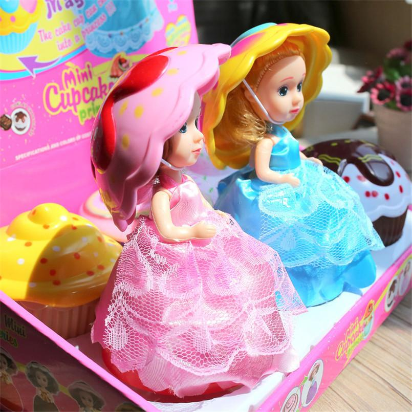 6шт / комплект Большой размер 15 см мультфильм кекс принцесса детские куклы игрушки трансформированные торт чашка свадебная кукла игрушка для девочек детей
