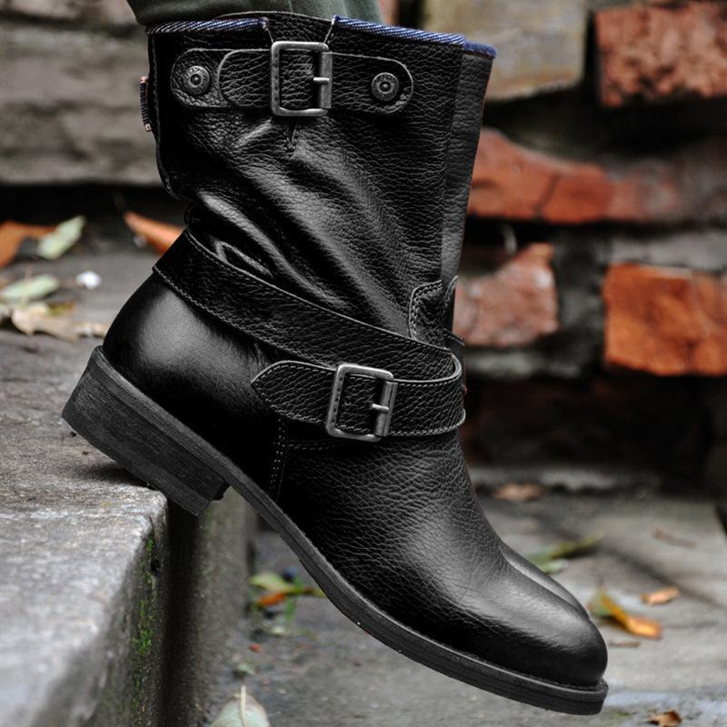 Boots Locomotive Autumn And Winter Plus Size Short Round Toe Square Heel Brown Female Belt Buckle Fashion