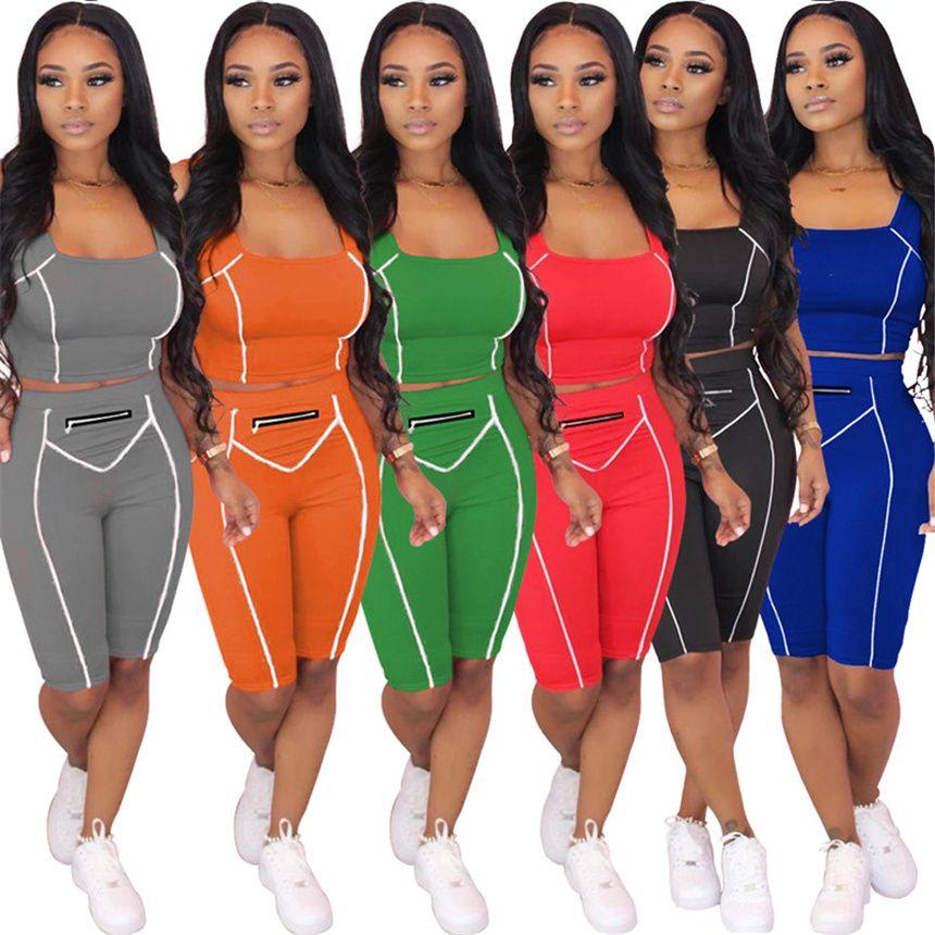 Frauen Sport Outfits Solide Farbe Trainingsanzug Lässig 2 Stück Sets Sommerkleidung Sleeveless T-Shirt + Mini Shorts Sport Jogger Anzug 4583
