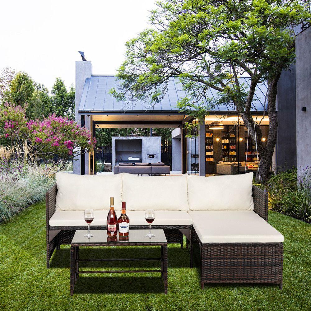 3 PCS Sofá de Rattan Set Sofá de Vime Set Outdoor Seção Pátio Mobiliário Jardim Backyard Patrimônio e Piscina Com Mesa De Café Marrom Gradien