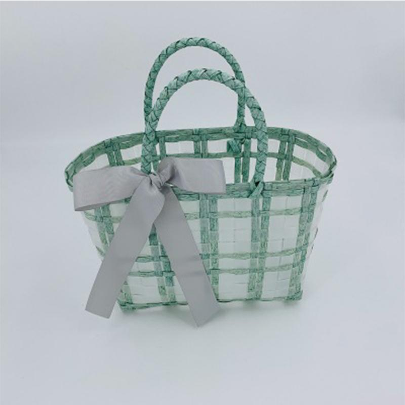 Designer Woven Basket Bags Women Handbag Handmade Clear Plastic Tote Beach Bag Bohemia Travel Shoulder Bags for Women 2021 Purse C0308
