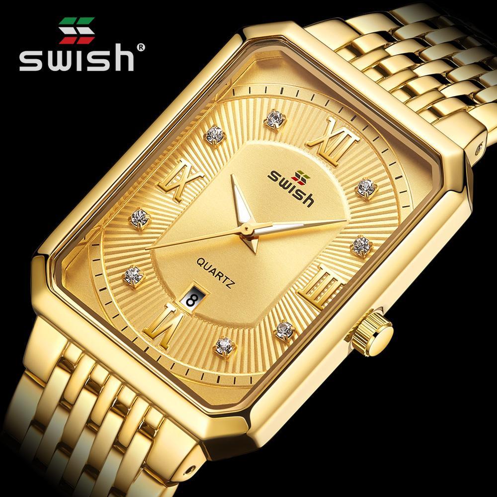 Мода золотые часы для мужчин верхний бренд роскошный мужской творческий прямоугольник кварцевые наручные часы водонепроницаемый спортивный розовый Masculino C0227