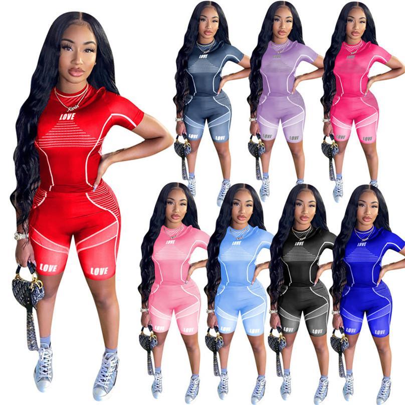 Frauen Trainingsanzug Yoga Sommer 2 Stück Set Kurzarm T-Shirt + Shorts Brief Sport Anzug Crew Ausschnitt Outfits Mode Jogging Anzug 4493