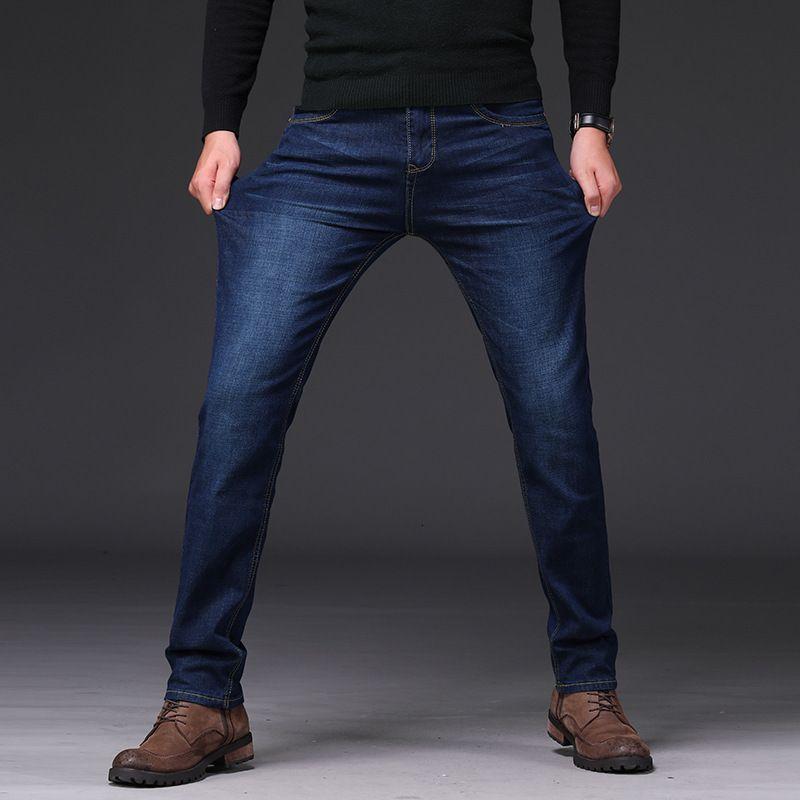 Jeans Autunno e inverno caldo High Elastico Elastico Casual Casual Slim Dritto Tube Straight Business Business Pantaloni da uomo