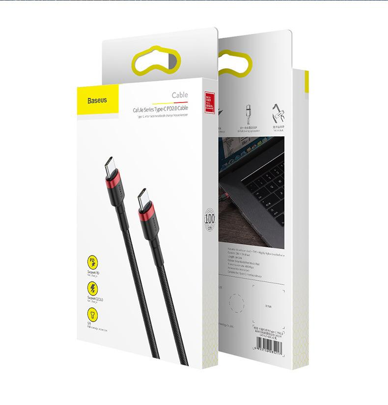 BASEUS USB 유형 C to USB-TYPE-C 케이블 5A 60W / 100W PD 빠른 충전 4.0 Samsung Xiaomi Redmi 용 Cable 10 Pro MacBook