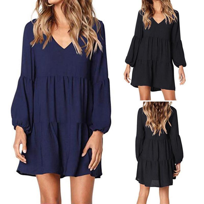 Pleated Plus Size Dress Women Solid V-neck Lantern Long Sleeve Flowy Swing Shift Loose Dress Chiffon DressesVestidos