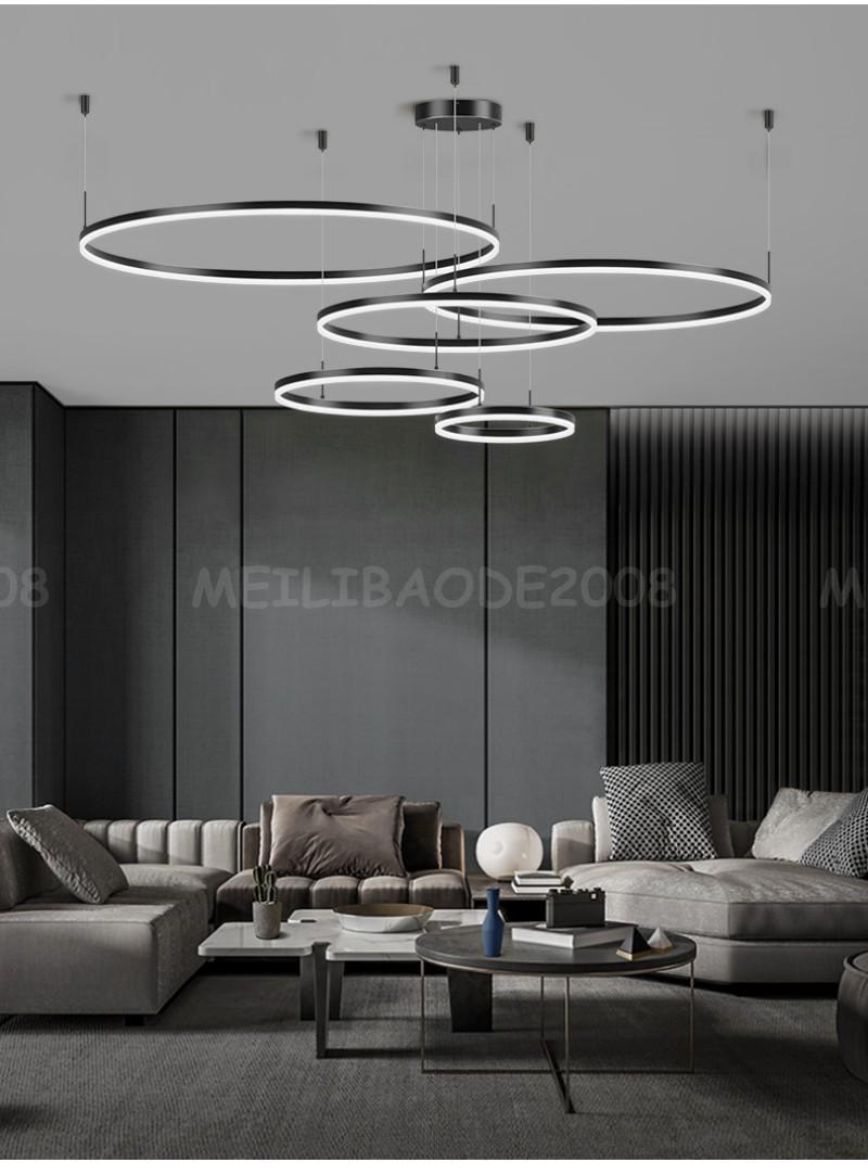 Moderno anillo negro combinación araña de araña simple personalidad colgante lámparas luces luces iluminación para sala de estar villas dormitorio