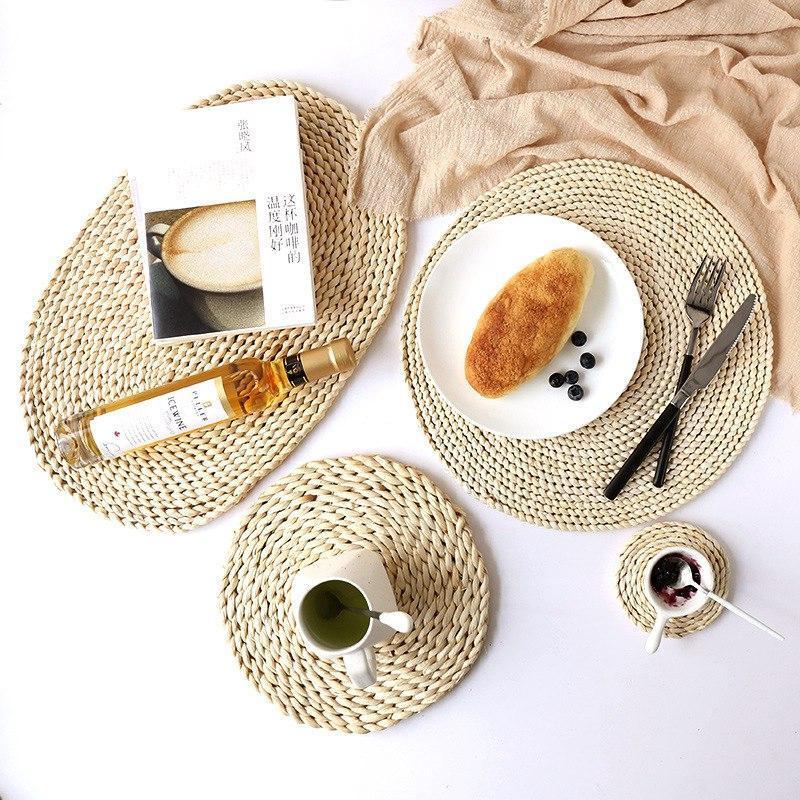 Paspaslar Pedleri Yuvarlak Mısır Husk Masa Mat Mutfak Yemek Odası Için Dokuma Placemat Yemek Odası Yalıtım Pad Çay Bardağı Tropikal Düğün Ev Dekor