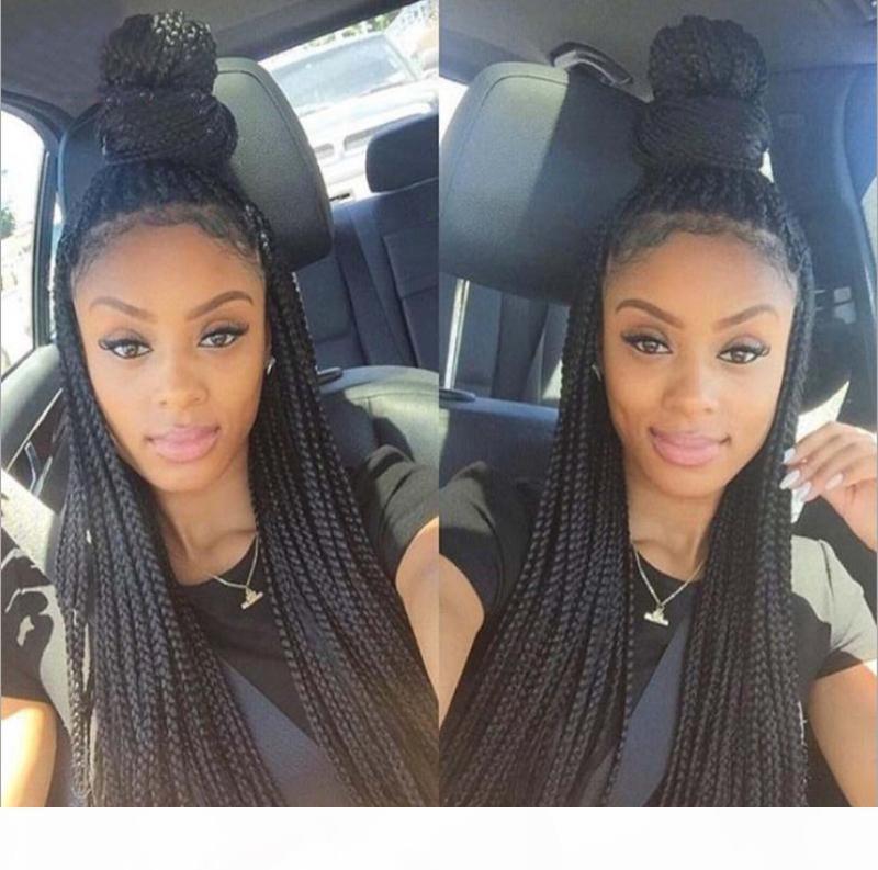 Kutu Örgülü Dantel Peruk Bebek Saçları Ile Siyah Kadınlar Için Ucuz Lacefront Isıya Dayanıklı Fiber Saç Tutkalsız Kutu Örgü Dantel Ön Peruk