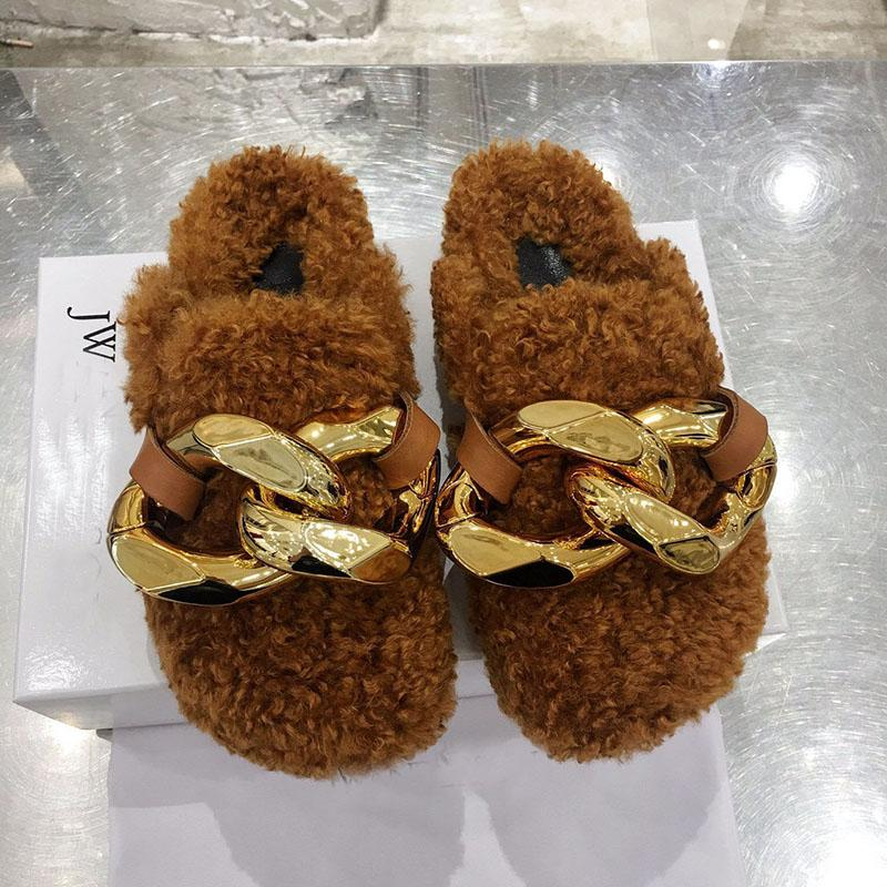 A estrenar Moda JW Mujeres Botines Casuales Piel Caliente Talón plano Tobides Slippers Big Cadena Slippers Luxurys Designers Shoes