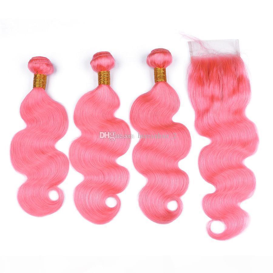 Body Wave Capelli Umani Bright Pink Lace Chiusura con Bundles 3pcs Body Wave Capelli per capelli umani Weaves con 4x4 Chiusura a pizzo Virgin Malaysian Capelli