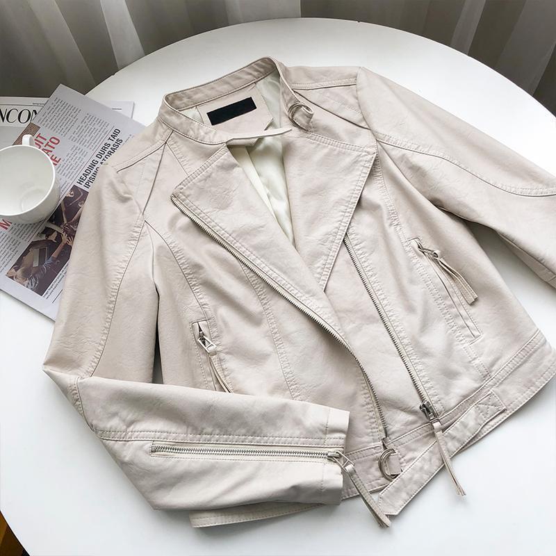여성 재킷 봄 패션 PU 가죽 자켓 여성 캐주얼 턴 다운 칼라 긴 소매 검은 지퍼 코트 탑스