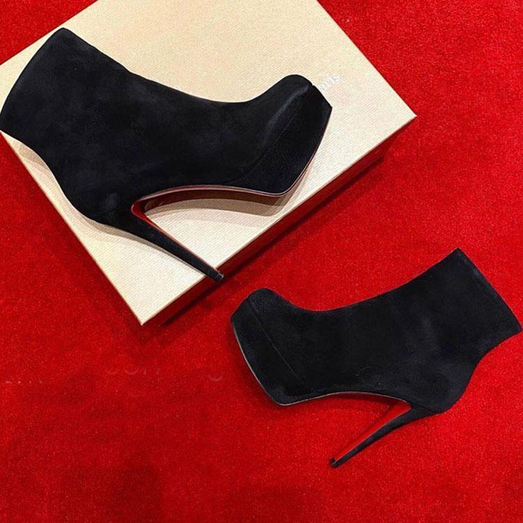 باريس المرأة الأحذية الأحمر أسفل الأحذية bianca botta الأحمر وحيد الكاحل التمهيد، أسود جلد الغزال / منصة منصة سوبر عالية الكعب سيدة حفل زفاف اللباس مضخات مصمم فاخر