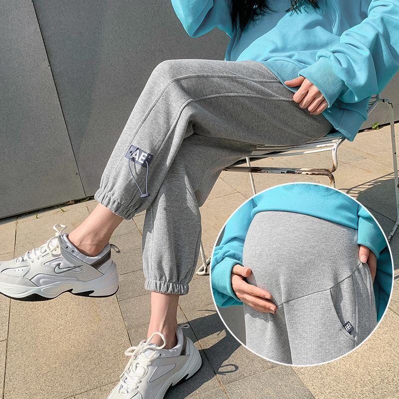 2021 Printemps Nouveau Pantalon de maternité Coton Coton Elastic Belly Vêtements de survêtement des vêtements pour femmes enceintes Sports Sports Casual Grossesse