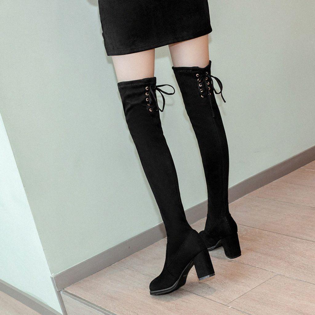 المرأة ساحة عالية الكعب أحذية مثير الدانتيل يصل أحذية الشتاء امرأة فوق الركبة أحذية عالية للنساء أشار تو بوتا الأنثوية # N30 Q5VM #