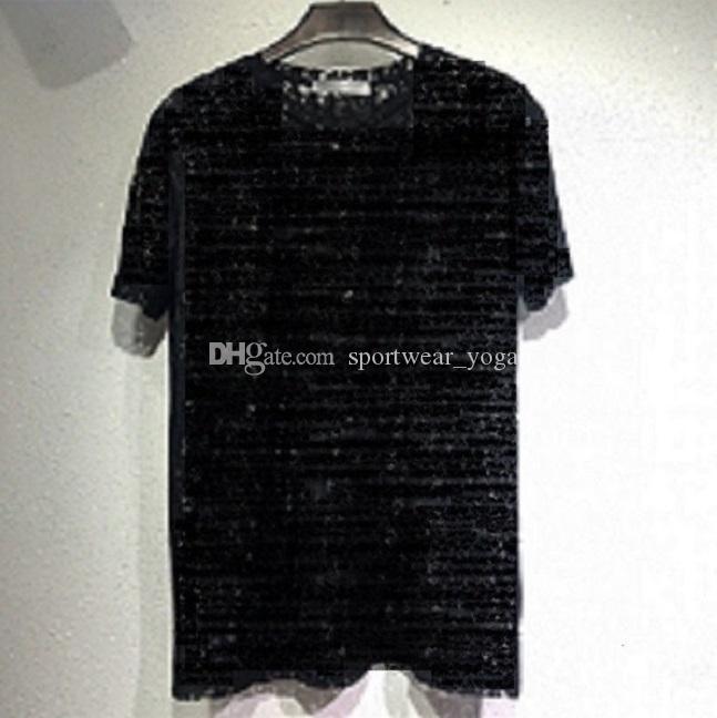 Mujer diseñadora camiseta encaje sexy sheer fiesta desgaste mujer letra letra impresión hueco hacia fuera para hombre top de verano hip hop streetwear camisas de moda Nigntclub