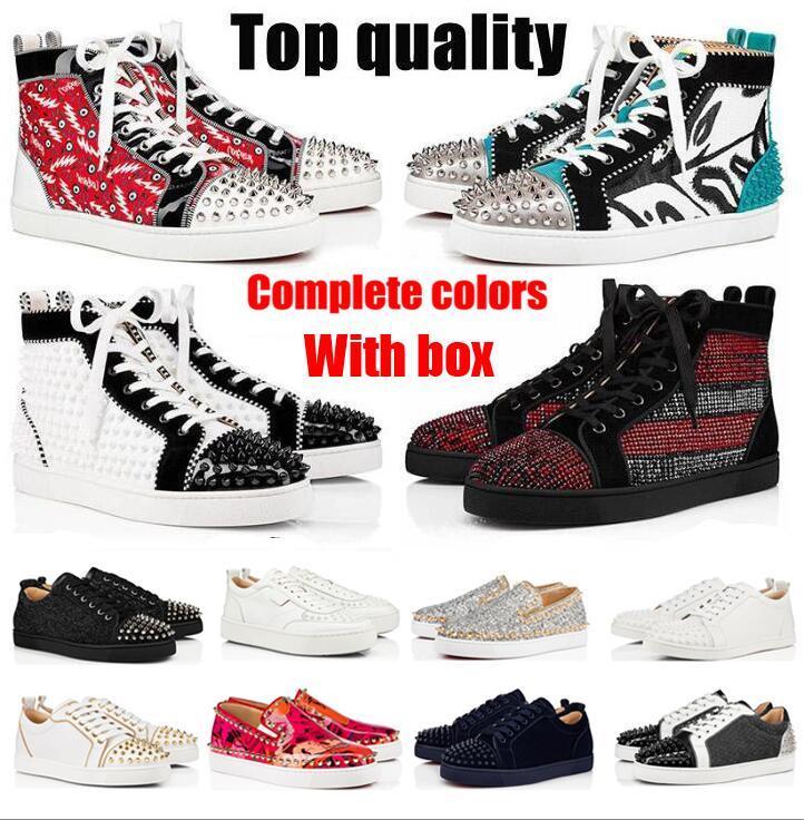 2021 Red Bottom Zapatos casuales Mans Spikes Studded Hombres de gamuza de gamuza para hombre Fondos planos Party Lovers Tamaño 36 ~ 48 con caja