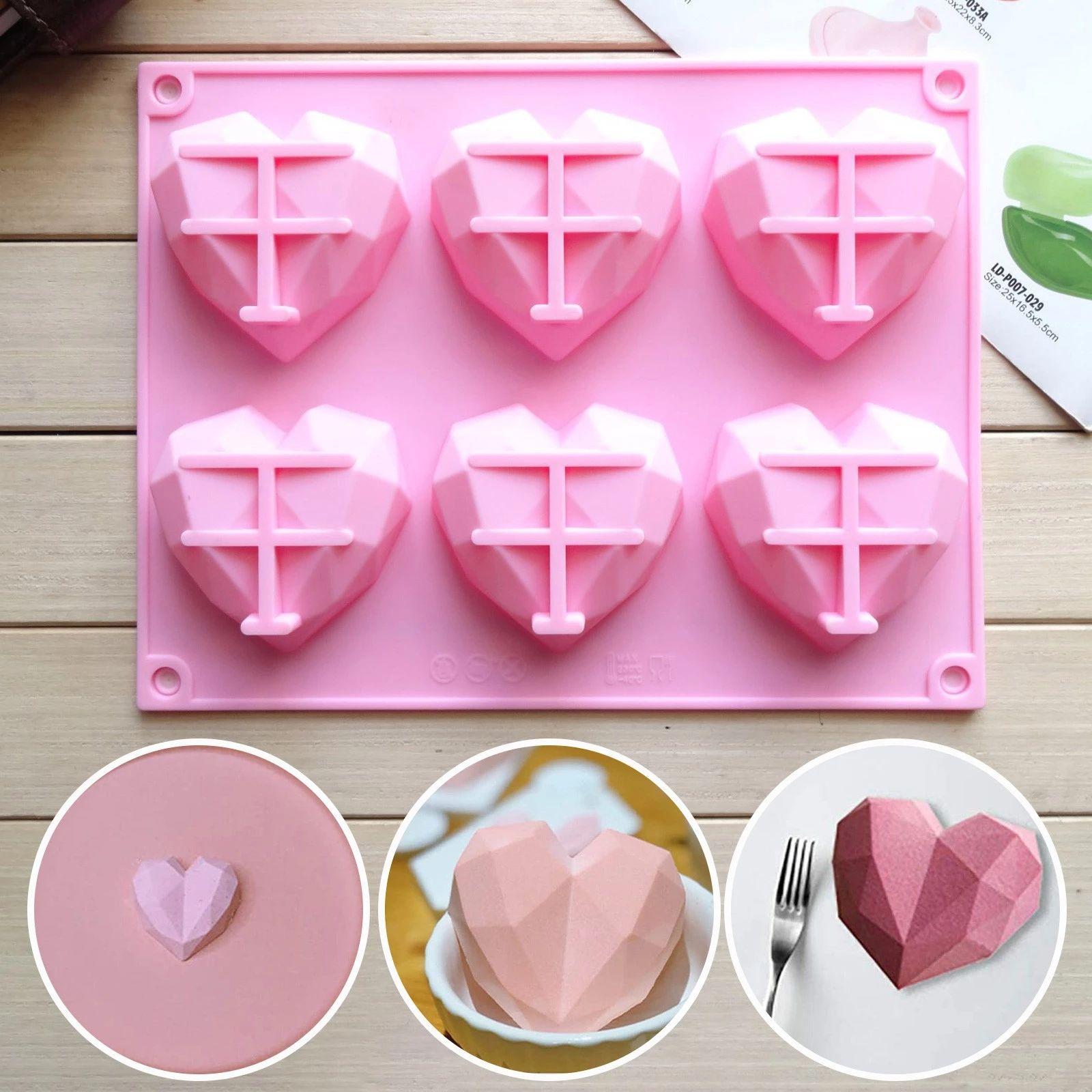 3D DIY силиконовые влюбленные тортные формы 6 полость алмазное любовь сердце помадка украшать инструменты шоколадные формы печенье