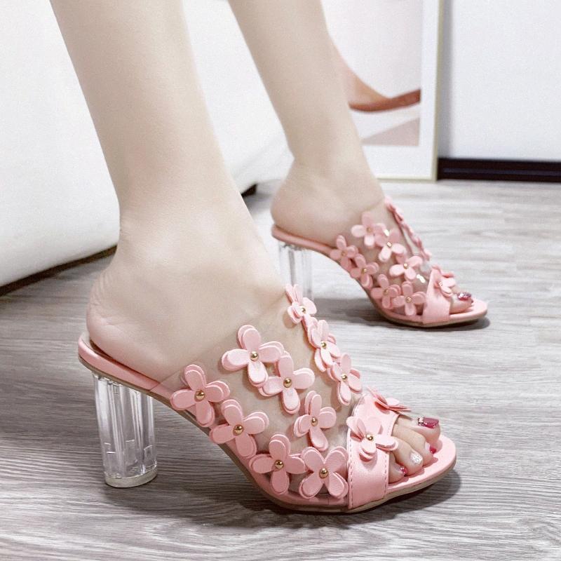 2020 Nouveaux talons hauts sexy Pantoufles Chaussures Femmes Chaussons Talons Clear Talons Summer Flower Sandales Blanc Rose Noir Rouge X0vo #