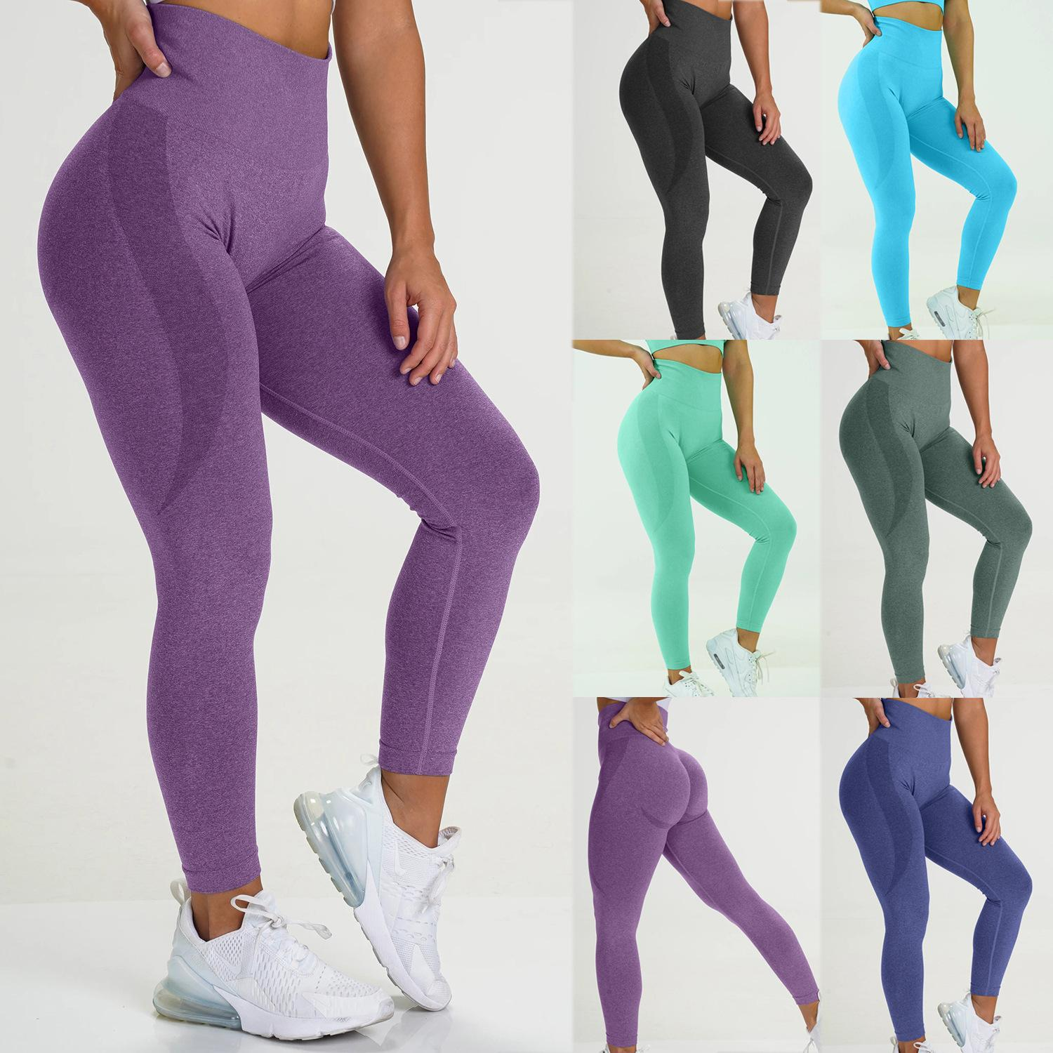 Women Yoga Pant Fitness Pure Color Casual Sports Tight-fitting Comfortable Concise Seamless Yoga Pants Hot Style Trousers 2021