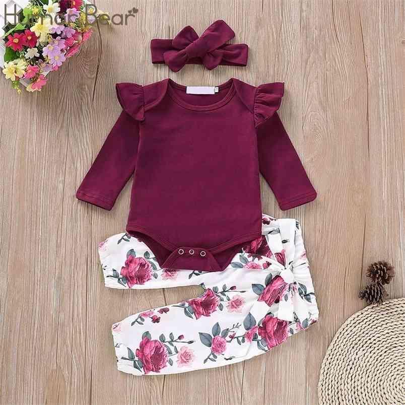 Herbst Baby Mädchen Kleidung Sets Baumwolle Langarm T-Shirt + Blumenhosen + Stirnband 3 stücke Jumpsuit Kleinkind Kinder Anzug 210611