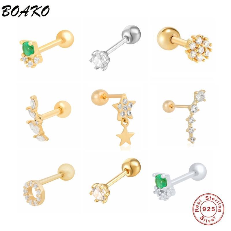 Stud Boako 925 Sterling Silber Ohrringe für Frauen Piercing Knorpel Minimalist Klein Niedlich Grün Klar Zirkon Schmuck