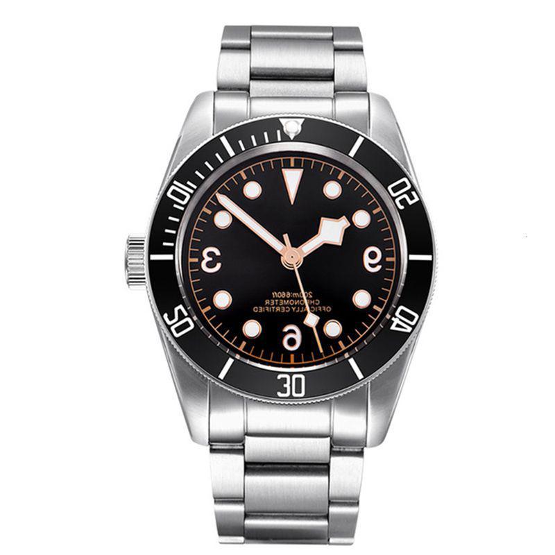 Corgut Sterile Eisen Vorhang Beleuchtung Black Bay Herren Automatische Sports Swim Clock Männliche mechanische Uhren 2010D