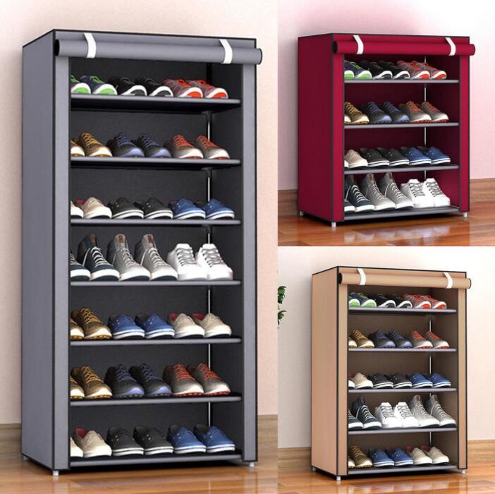 Caixas de armazenamento à prova de poeira montar sapatos rack diy home mobiliário não-tecido prateleira de sapato corredor armário organizador