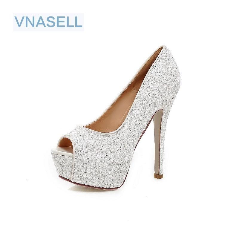 VNASELL FEMME 13.5CM Hauts High Talons Femmes Pompes Stiletto Talon mince Chaussures Femmes Open Toe High Talons Chaussures Taille 32-41 42 43