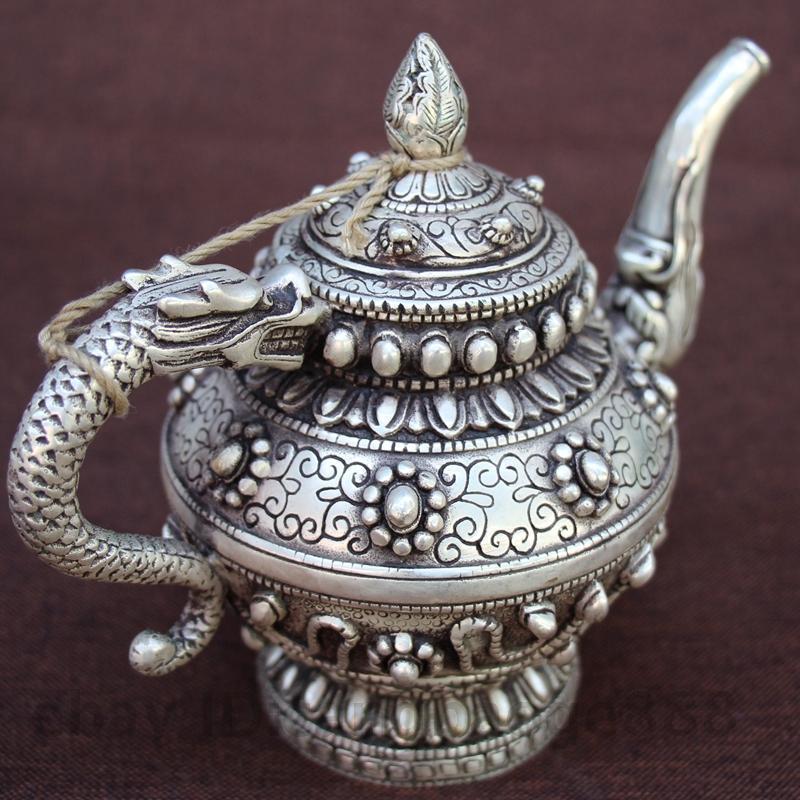 Китайский джансты серебряная живопись дракона ручка зверя винный чай горшок флагтон