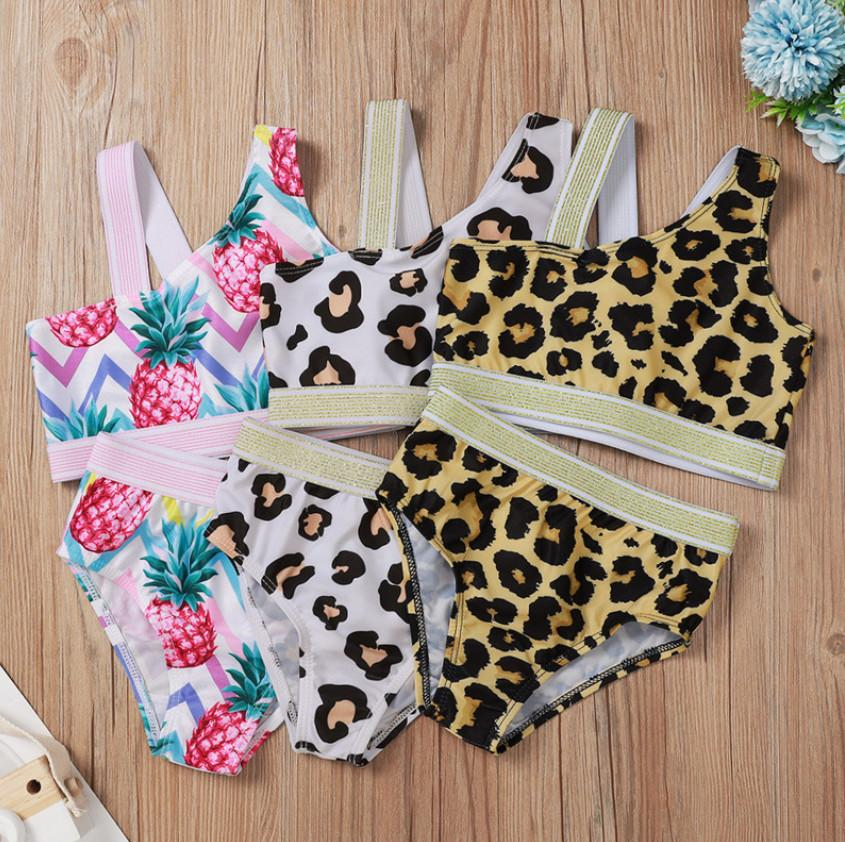 INS New Girls swimsuits fashion kids Leopard pineapple printed Tanks Crop Top+ Swimming trunks 2pcs children swimsuit set A5886
