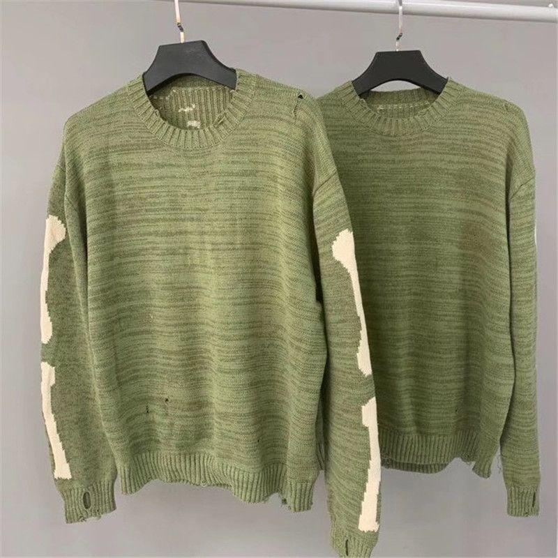 20FW 2021 Novo Hiphop Kapital Esqueleto Impressão de Osso Homens Mulher de Alta Qualidade Crewneck Vintage Verde Camisolas Sweater QXIO JHO8