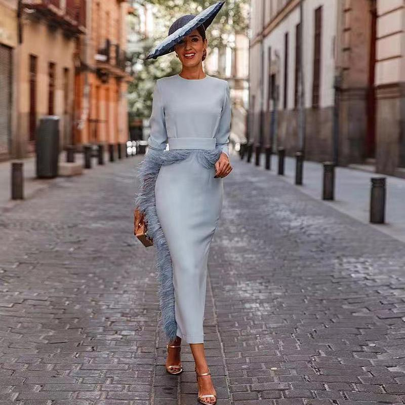 dusty blue tea-length mother of the bride dresses 2022 long sleeve luxury feather jewel neck mother formal wedding guest dress