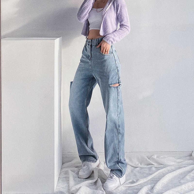 Womengaga Chic Loch Frauen Denim Jeans Frühling Europäischen BF Wind Lose Ripping Beine Hohe Taille Breite Beinhose LDX8 210603