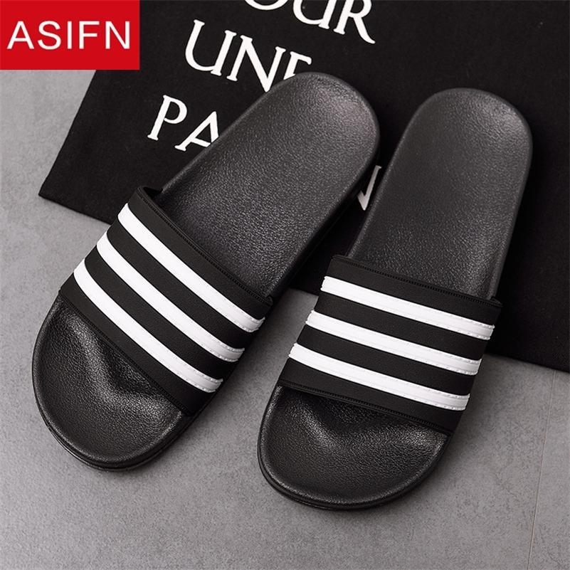 Asifn hombres zapatillas eva diapositivas masculinas zapatos antideslizante negro blanco rayas casual playa flip flip chanclas zapatos hombre grande tamaño 210226